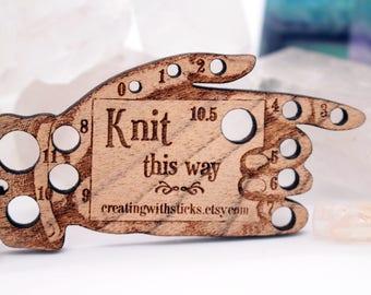 Needle Gauge Key Fob/Keyring, Knitting Needle Gauge, Crochet Needle Gauge, Portable Needle Gauge, Knitting Notions, Crochet Tool, Hand Tool