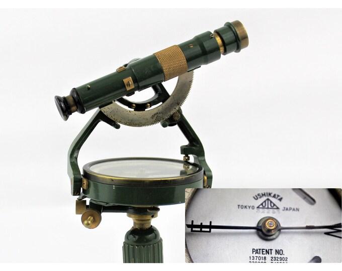 Vintage USHIKATA Surveyors Transit, Surveying Compass with Telescope, Mountain Transit