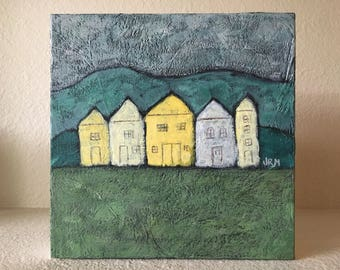 In a Row - Farmhouse, Rustic Painting, Vintage Style, Country, Cottage Style, Folk Art