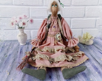 Soft Sculpture fantasy creature Kitchen witch doll Baba Yaga interior doll old lady doll hedge Witch Cute witch doll doll kitchen witch doll