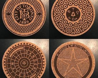 Under Cover: Manhole Cover Cork Coasters-Toronto The 6ix. Free Shipping