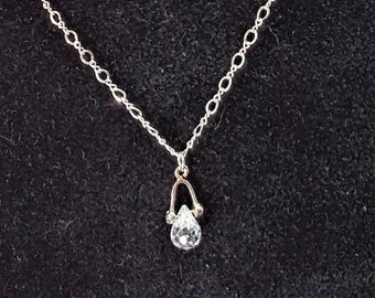 Crystal Teardrop Necklace on Sterling Chain