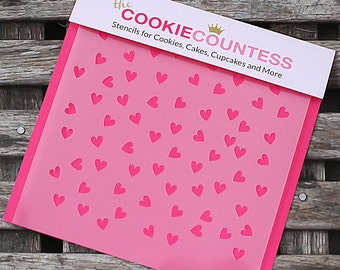 Scattered Hearts Cookie Stencil, Heart Sugar Cookie Stencil, Heart Fondant Stencil, Cookie Countess Cookie Stencil, Mini Heart Stencil