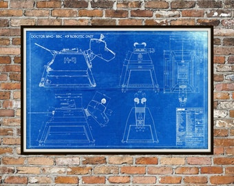 Dr Who K-9, K9 Robotic Unit Print Poster, Dr Who Blueprint,  Art of The Tardis, Pet, Whovian Gift - Dog, Companion Print Art Item 0223A