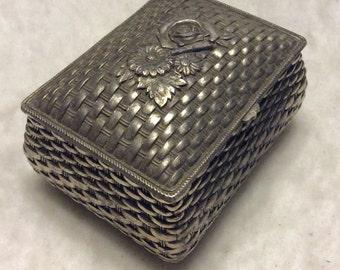 Vintage silverplate basketweave roses red velvet lined trinket jewelry box.