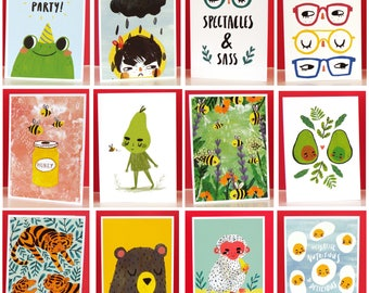 Mix & Match Any 5 Card Designs - Set of 5 Notecards - Playful Illustrated Greetings Cards