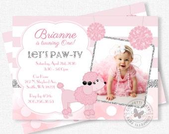 Pink Poodle Birthday Invitation, Chic Birthday Invitation, Pink Party Invite, Girl Birthday Photo Invitation, Silver Glitter