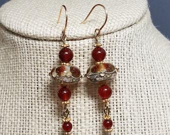 Lampwork Glass Earrings Carnelian Earrings Beaded Earrings