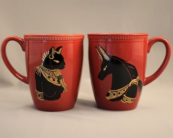 Ceramic Mugs, Hand Painted Egyptian Series: Anubis and Bastet, Egyptian Gods and Goddesses