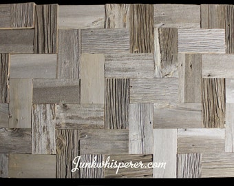 Reclaimed Barn Wood Tiles, Herring Bone Pattern, Grey Barn Board, Old Century, Architectural Salvage, Wall Art by Junkwhisperer.com