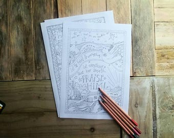Colouring-in Sheets - Worship - Bible Verse - Christian - Craft