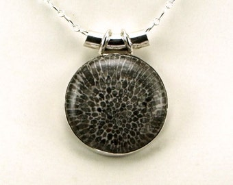 Rare Stingray Coral Sterling Silver Pendant - N854