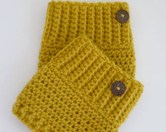 Crochet Boot Cuffs Button Accent Crochet Boot Topper Leg Warmer in Mustard - Ready to Ship  - Direct Checkout - Gift for Her