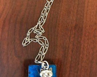Owl, blue silver necklace