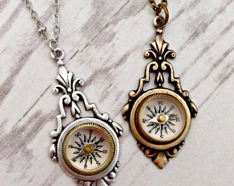 Antique Silver or Bronze Victorian Steampunk Travelling Compass Necklace, Wanderlust Gift, Travel Jewelry, Graduation Gift