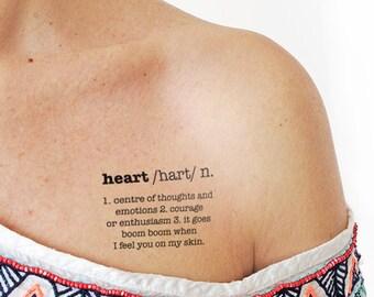 Heart definition - Temporary Tattoo (Set of 2)