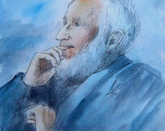 """Painting : """"the wise old man"""" Watercolored graphite drawing   Petunia's portrait   30x50cm- 300gr Arches paper paper"""
