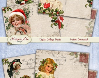 75% OFF SALE Merry Christmas - Digital Collage Sheet Digital Cards C101 Printable Download Image Digital Christmas Atc Card ACEO Santa Claus