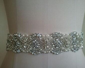 SALE -Wedding Belt, Bridal Belt, Sash Belt, Crystal Rhinestones & Pearls - Style B2999C