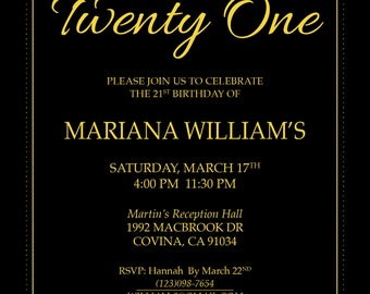 Elegant Simple Black Gold Red Birthday Invitation 3