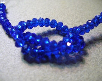 Crystal Beads  Faceted  Royal Blue Rondelles 4x3MM