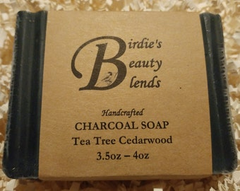 Handmade Tea Tree Cedarwood Charcoal Soap