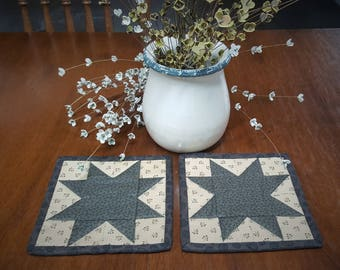 Quilted Coasters / Quilted Mug Rugs / Country Mug Rugs / Quilted Candle Mats / Mug Rugs  / Country Decor / Primitive Decor / Handmade