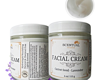 Natural Face Cream with Carrot Seed & Lavender, Face Lotion, Organic Facial Moisturizer, Anti-aging Face Cream, Facial Moisturizing Cream