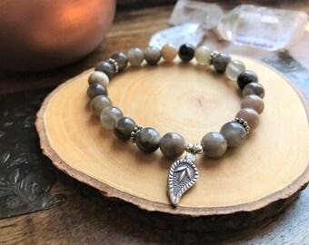 Gift For Wife - Healing Stone Bracelet - Gemstone Bracelet - Karen Hill Tribe - Birthday Gift - Leaf - Sunstones - Anxiety Bracelet - Gift