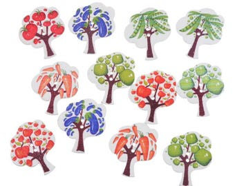 5 large wood tree buttons 2 holes - 30x25mm - original - multicolored - vegetable