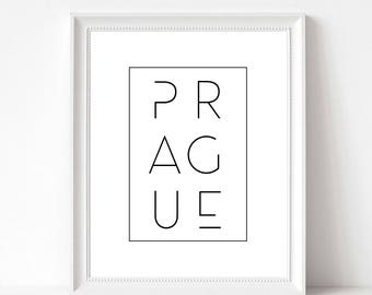 Prague Print | Prague Poster Printable | Prague Typography | Prague Czech Republic Gift Decor | Scandi Nordic Style Art | DIGITAL FILE ONLY