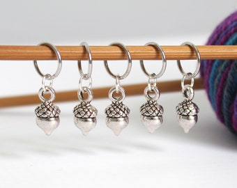 5 Stitch Marker Acorn Kisses Set of Silver Stitchmarker Knitting Charms to Mark Stitches StitchMarkers Patter Reminder