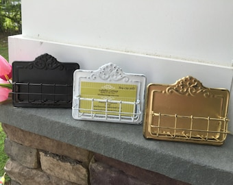 Business card holder etsy business card holder shabby chic card holder gold business card holder home and colourmoves Image collections