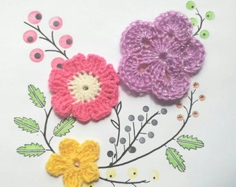 Flower crochet motif, set of 3 flowers, Crochet flower appliques, yellow, pink, crochet flower set, embellishment applique flowers, crafts