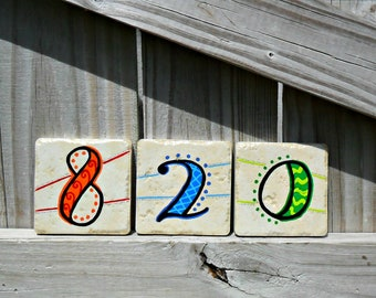 Hand painted house numbers address tiles