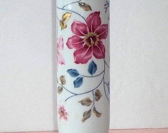 """Vintage Otagiri Japan SUPREME Porcelain Vase 6.5"""" Red Teal Gold Floral EXCELLENT"""