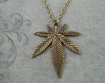 Pot Leaf Necklace LARGE Brass Marijuana Leaf Necklace Weed Gift Hemp Leaf Pendant Weed Necklace Pot Necklace Pot Jewelry Marijuana Necklace