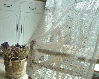 Ecru white lace veil ,wave cotton Lace  fabric by yard