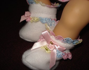 """15"""" Doll Clothes - White fleece fabric with colorful lace trim , rosebud ,& satin bow Slippers Booties"""