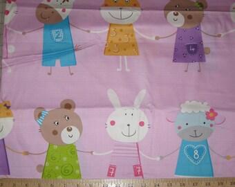 Korean import animal friends fabric 1 yard pink