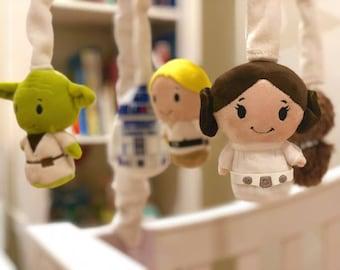 CUSTOM Star Wars Mobile - Baby Crib Mobile - Star Wars Nursery - Yoda, Luke Skywalker, Princess Leia, R2D2, Chewbacca