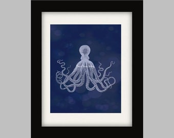 Antique Octopus print, Vintage Octopus Wall Art, Octopus Print, Nautical Decor, Beach House Wall Art, Sealife Print
