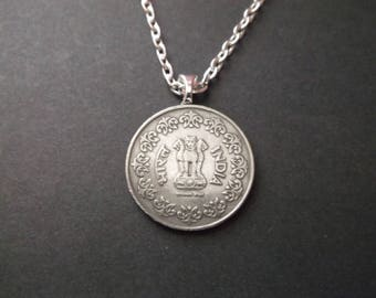 India Coin Necklace - 50 India Coin Pendant with Bail and Chain -  1984 India Coin Pendant
