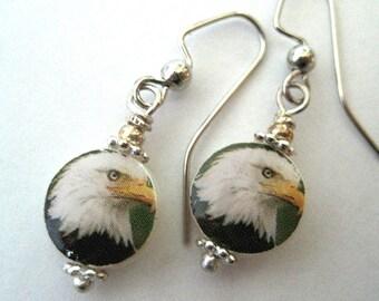 American Bald Eagle. Petite Mother of Pearl Shell Earrings. Handmade.