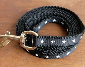 Boy Dog Leash in Stars, Masculine Puppy Leash, Black, Print on one side,