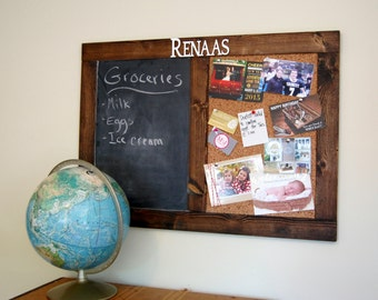 Rustic Personalized Chalk & Cork Bulletin Board Large