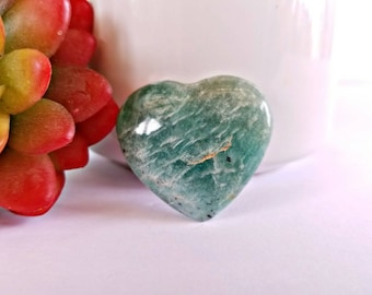Carved Amazonite Crystal Heart