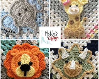 Crochet Pattern - INSTANT PDF DOWNLOAD- Pattern Only - Lion - Elephant - Giraffe - Triceratops - Crochet Patterns - Crochet Gift - Baby Gift