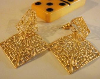 Filigree Dangle Post Earrings - Fashion Pierced Filigree Earrings, Gold Filigree Pieced Dangle Earrings, Filigree, Dangle, Surgical Posts...