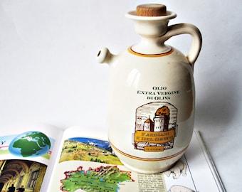 Olive Oil Jug with Cork / Lucca Italian Pottery/ Ceramic Bottle with Cork/ Olio Cruet
